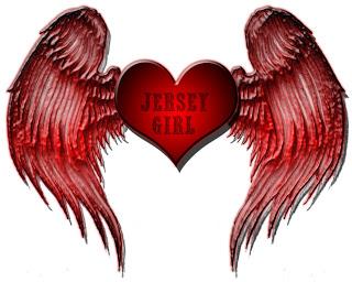 JERSEY GIRL RED ANGEL WINGS HEART